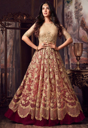 Embroidered Net Lehenga in Beige and Magenta