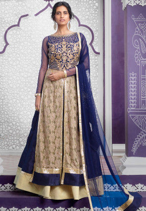 Embroidered Net Lehenga in Beige and Navy Blue
