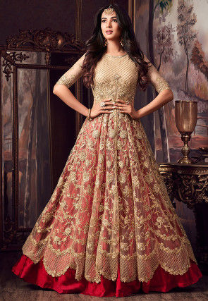 Embroidered Net Lehenga in Beige and Red