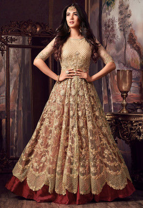 Embroidered Net Lehenga in Beige and Rust