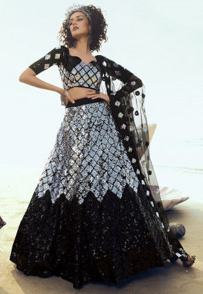 Embroidered Net Lehenga in Black and Sliver