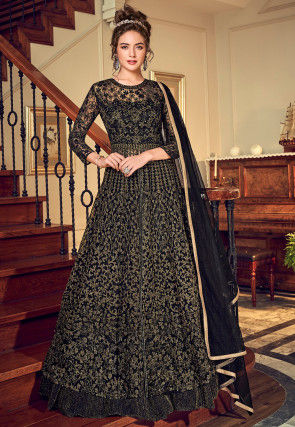 Embroidered Net Lehenga in Black