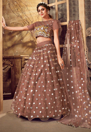 Embroidered Net Lehenga in Brown