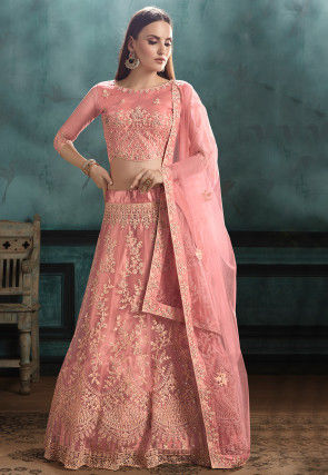 Embroidered Net Lehenga in Coral Pink