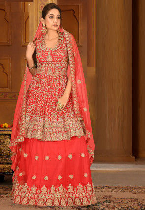 Embroidered Net Lehenga in Coral Red