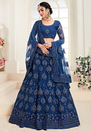 Embroidered Net Lehenga in Dark Blue