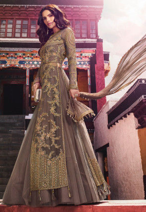 Embroidered Net Lehenga in Dark Fawn