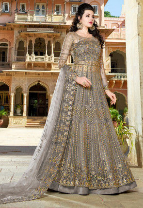 Embroidered Net Lehenga in Dark Grey