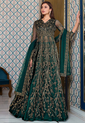 Embroidered Net Lehenga in Dark Teal Green