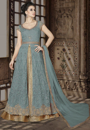 Embroidered Net Lehenga in Dusty Blue