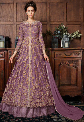 Embroidered Net Lehenga in Dusty Lilac