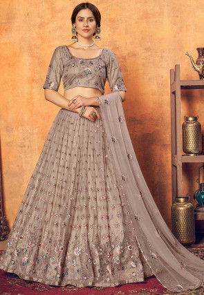 Embroidered Net Lehenga in Fawn