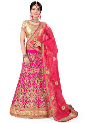Embroidered Net Lehenga in Fuchsia