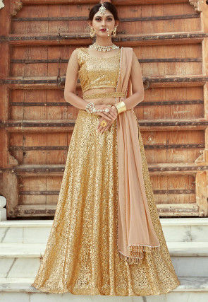 Embroidered Net Lehenga in Golden