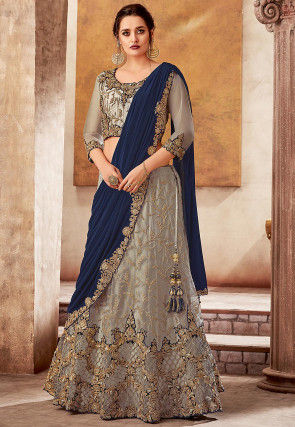 Embroidered Net Lehenga in Grey