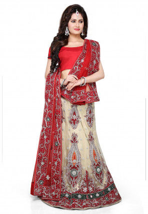 Embroidered Net Lehenga in Light Beige and Red