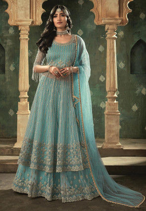 Embroidered Net Lehenga in Light Blue
