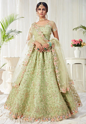 Embroidered Net Lehenga in Light Green