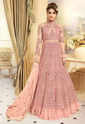 Embroidered Net Lehenga in Light Pink