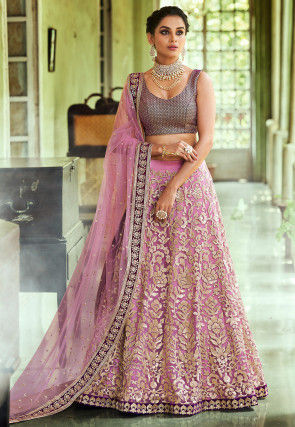 Embroidered Net Lehenga in Light Purple