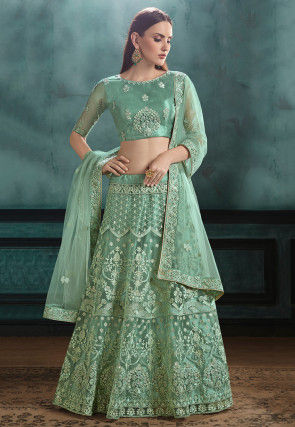 Embroidered Net Lehenga in Light Teal Green