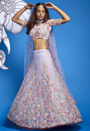 Embroidered Net Lehenga in Lilac