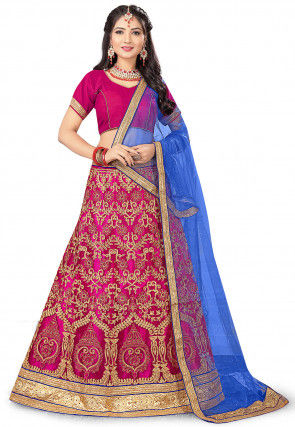 Embroidered Net Lehenga in Magenta