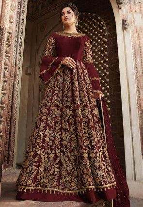 Embroidered Net Lehenga in Maroon