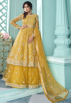 Embroidered Net Lehenga in Mustard