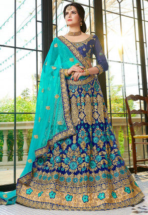 Embroidered Net Lehenga In Navy Blue