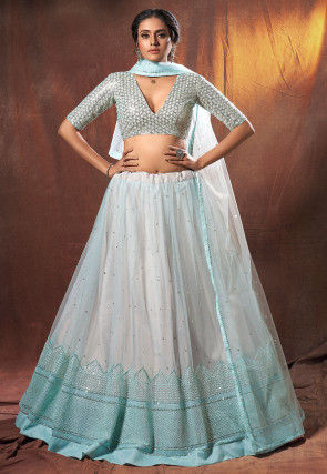 Embroidered Net Lehenga in Off White and Sky Blue