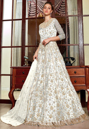 Embroidered Net Lehenga in Off White