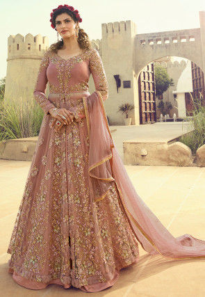 Embroidered Net Lehenga in Old Rose
