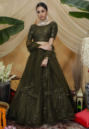 Embroidered Net Lehenga in Olive Green