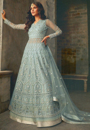Embroidered Net Lehenga in Pastel Blue