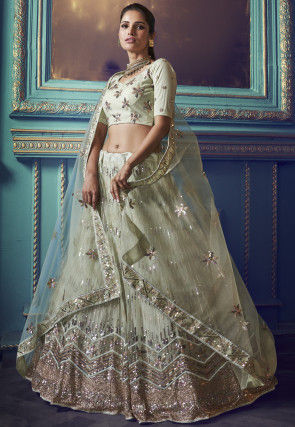Embroidered Net Lehenga in Pastel Green