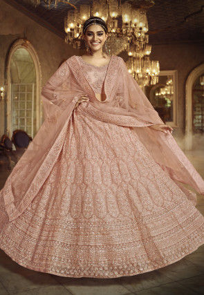 Embroidered Net Lehenga in Peach