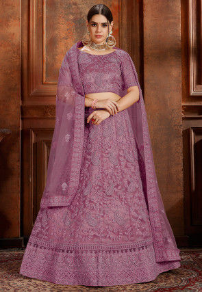 Embroidered Net Lehenga in Purple