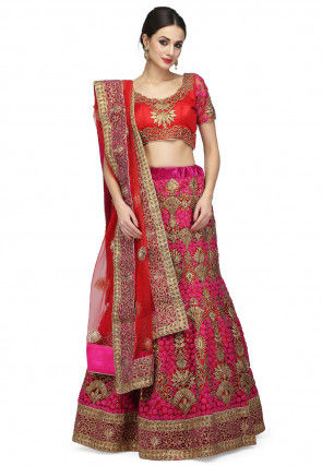 Embroidered Net Lehenga in Red and Fuchsia
