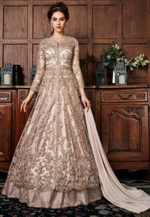 Embroidered Net Lehenga in Rose Gold