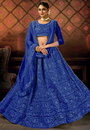Embroidered Net Lehenga in Royal Blue