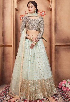 Embroidered Net Lehenga in Sea Green