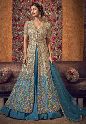 Embroidered Net Lehenga in Shaded Beige and Blue