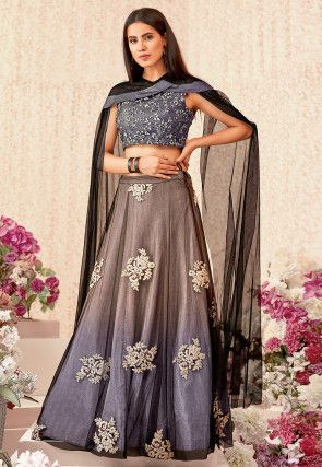 Embroidered Net Lehenga in Shaded Grey and Blue