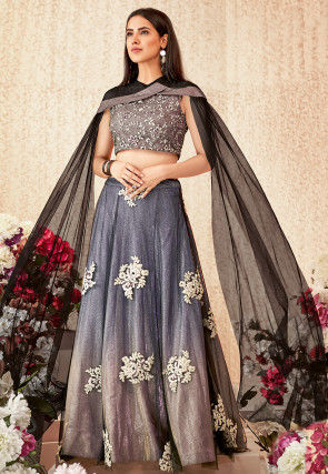 Embroidered Net Lehenga in Shaded Shaded Navy Blue and Peach