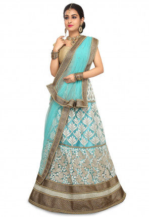 Embroidered Net Lehenga in Sky Blue