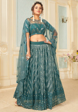 Embroidered Net Lehenga in Teal Blue