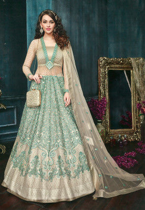 Embroidered Net Lehenga in Teal Green and Beige