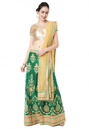 Embroidered Net Lehenga in Teal Green