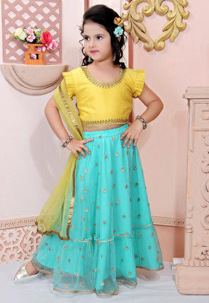 Embroidered Net Lehenga in Turquoise